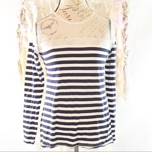BCBGMaxazria Long Sleeve Stripe Top with lace
